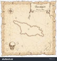 Maps Of Georgia Old Pirate Map Georgia Sepia Engraved Stock Vector 395555212