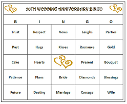 wedding words for bingo 50th anniversary party bingo 60 cards golden