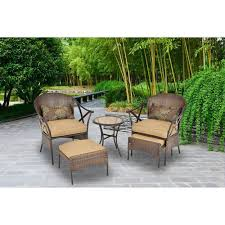 Patio Chair With Ottoman by 5 Piece Wicker Bistro Set Outdoor Garden Patio 2 Chairs Ottomans