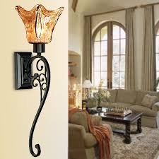 Wall Sconce Half Shades Art Deco Wall Lights With Glass Shade Black Wrought Iron