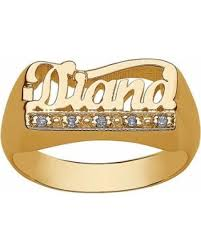 name ring gold amazing deal personalized women s diamond accent gold