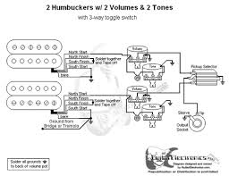 humbuckers 3 way toggle switch 2 volumes 2 tones