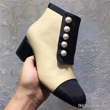 womens boots uk designer 2018 fashion designer pearl button ankle boots
