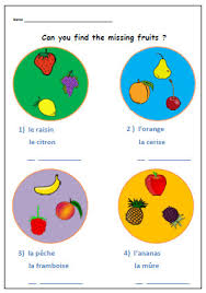 fruits french printableprimary worksheet ks1 by yippeelearning