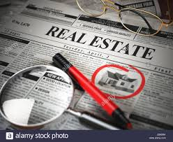 real estate classifieds ads newspaper and magnifying glass 3d