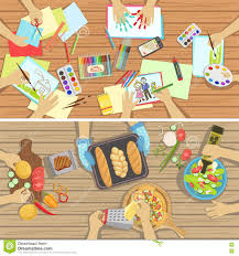children craft and cooking lesson two illustrations with only