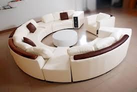 canapé d angle en cuir italien en rond design et pas cher modèle fleur