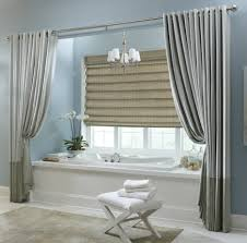 window treatment ideas for bathroom beige tiered window treatment ideas for bathroom over white tub
