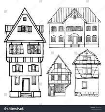 european houses set old european houses on white stock vector 254316490 shutterstock