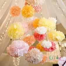 Yellow Pom Pom Flowers - popular tissue pom poms flower garland for party decoration new