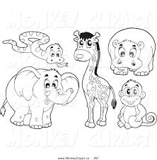 clip art of a digital collage of coloring page outlined african