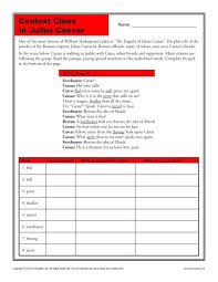 context clues in julius caesar context clues worksheets context