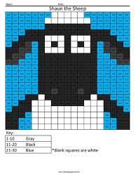 cartoon multiplication division coloring squared