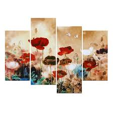 Poppy Home Decor by Amazon Com Wieco Art Blooming Poppies Modern 4 Panels Stretched