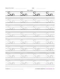 sun writing practice activity sheet kindergarten teachers