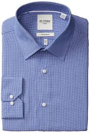 amazon com ben sherman men u0027s slim fit checkered dress shirt clothing