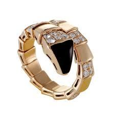 bvlgari diamonds rings images Bvlgari serpenti large rose gold diamond and onyx snake ring jpg