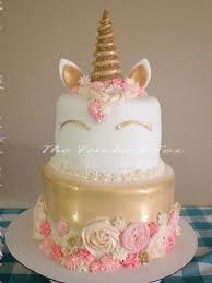 tall birthday cake for little gold peach and pink i