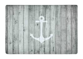 floor mat vintage white nautical anchor on gray wood print non