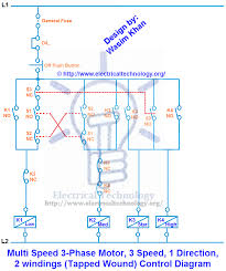 3 phase motor 3 speed 1 direction control diagram electrical