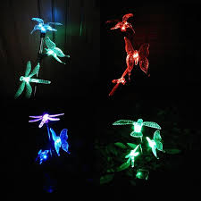 solar powered outdoor animal lights dragonfly bird butterfly