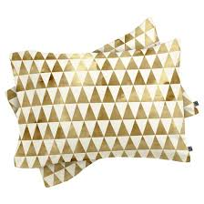 gold georgiana paraschiv triangle pattern comforter set deny