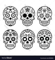 sugar skull dia de los muertos icons set vector image