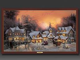 thomas kinkade lighted pictures kinkade village christmas illuminated canvas print