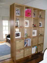 Shelf Floor L Brown Wooden Bookshelf Divider With Brown Rattan Basket Inside On