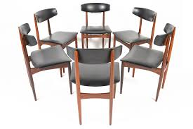 set of six kofod larsen style rosewood dining chairs mid century