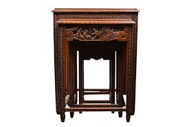 Vintage Chinese Carved Nesting Tables Omero Home