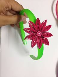 ribbon hair bands band designed with paper quilled flower aakaar paper