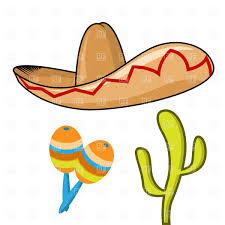 cartoon sombrero sombrero maracas and cactus vector clipart image 1110 u2013 rfclipart