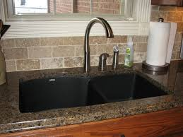Granite Undermount Kitchen Sinks by Tropic Brown Granite With Black Silgranit Sink Kitchen Ideas