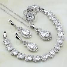 bridal necklace sets silver images 925 sterling silver jewelry white cubic zirconia bridal jewelry jpg