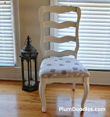 Country Dining Chairs Painted Country Chair With Stenciled Drop Cloth Fabric