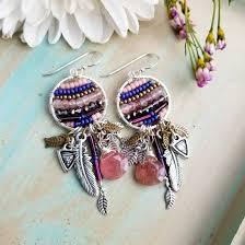 Designer Chandelier Earrings One Of A Dreamer Earrings Strawberry Quartz Silver