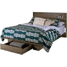 Bed Frames With Storage Drawers And Headboard Platform Bed Frame W Front Storage Drawer Shelf Headboard Set