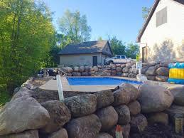 retaining walls boulder walls black dirt delivery ham lake