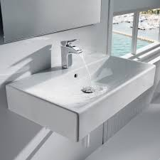 wall mounted washbasin rectangular porcelain contemporary