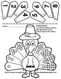 kindergarten thanksgiving cut and paste numberlines kindergarten