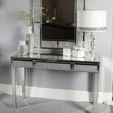 mirrored console vanity table glitz mirrored console dressing table picture perfect home