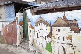 the jaman mural village next hanok village in jeonju city there was the area filled with beautiful murals having various themes it gave me the plenty of pleasure with vibrant color as well as creative high quality