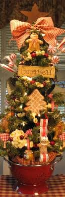 kitchen tree ideas primitive gingerbread cookie baking tree in colander w lights