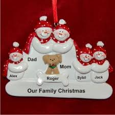 family of 5 with family ornaments personalized