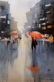 rain reflection watercolour painting by nitin singh online art