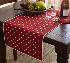 table runner polka dot embroidered table runner pottery barn