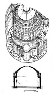 pantheon rome ad 118 28 isometric drawing and section source