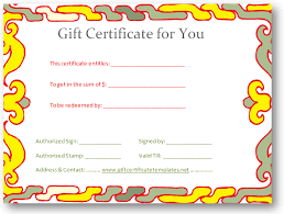 yellow border gift certificate template