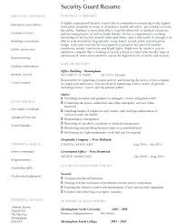 Resume Security Guard Sample Resume For Security Security Guard Resume Template 2 Sample